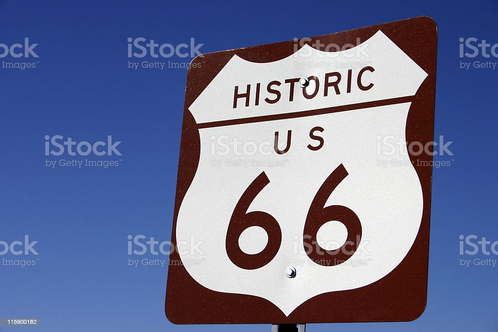 Historic Route 66 Sign royalty-free stock photo