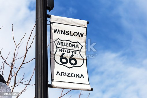 Historic Route 66 Sign in Winslow, Arizona
