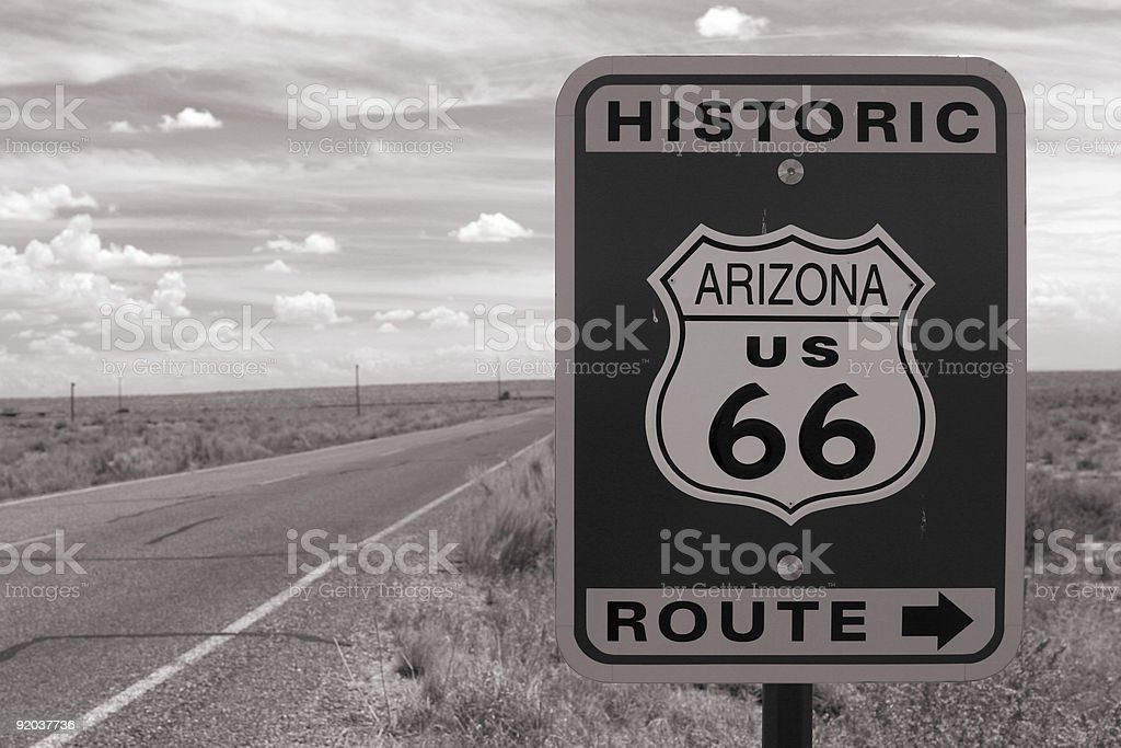 Historic Route 66 sign stock photo