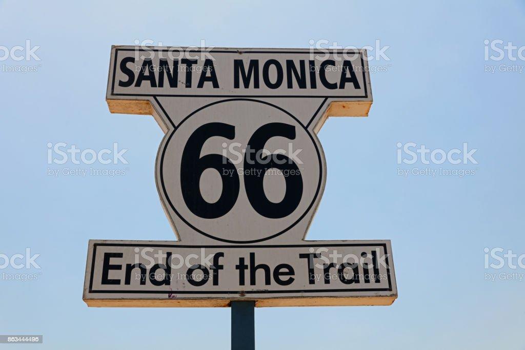 Historic Route 66 Signpost in Santa Monica. California. USA stock photo