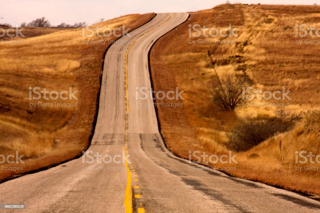 Historic Route 66_old highway_western Oklahoma stock photo