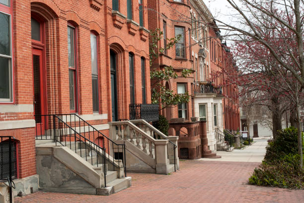 Historic row houses on Park Avenue in Midtown of Baltimore stock photo