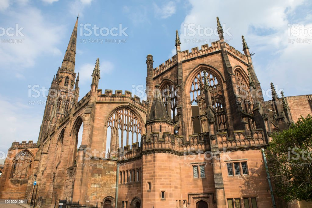 Historic Ruin of Coventry Cathedral in Coventry, UK stock photo