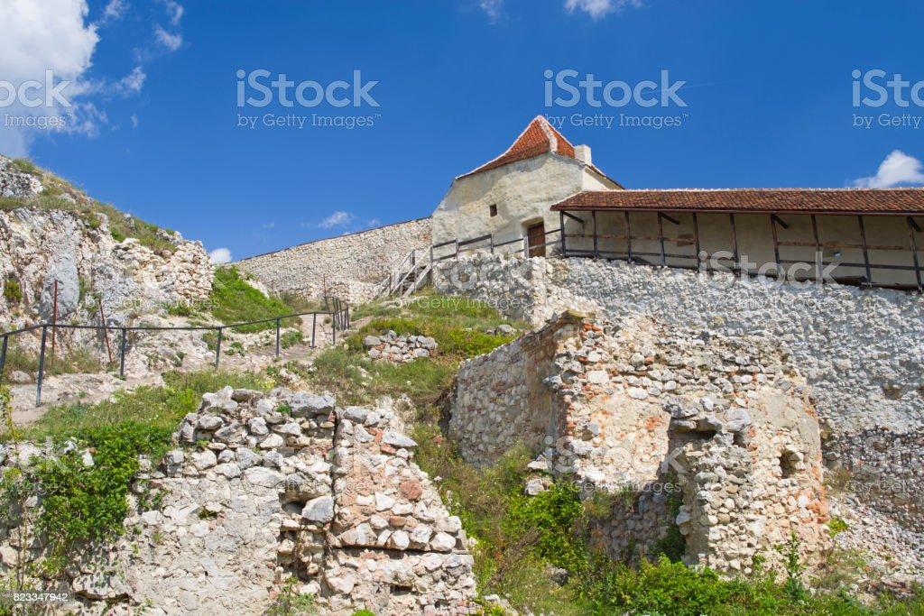 Historic ruins of Rasnov citadel, Romania stock photo