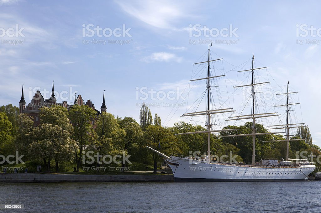 Historic Sail Boat in Stockholm royalty-free stock photo