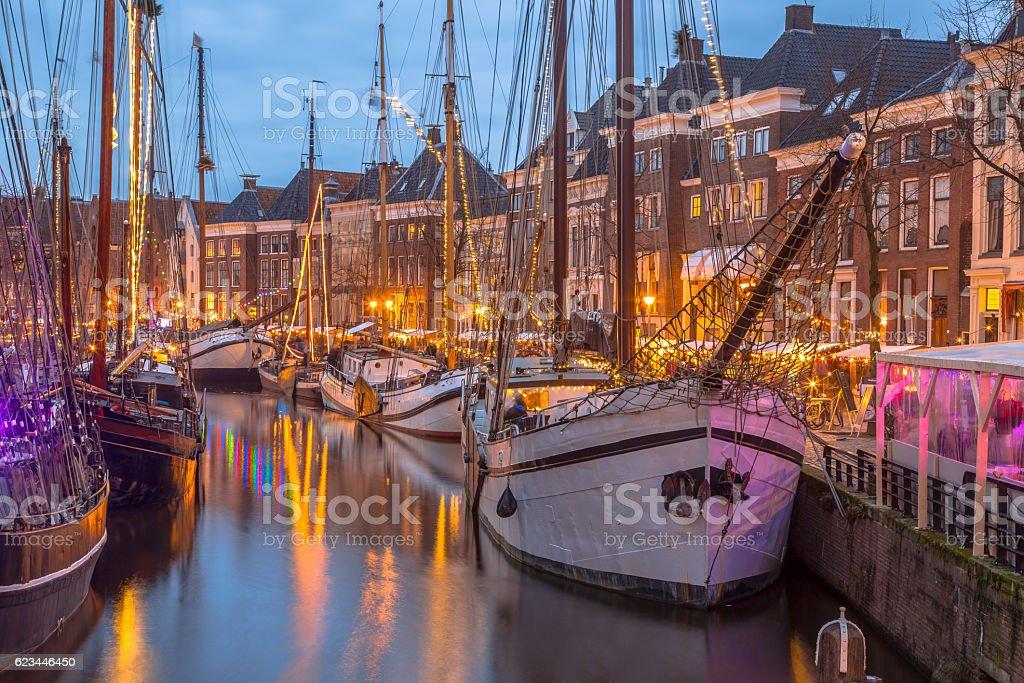 Historic sailing ships at the Hoge der Aa quay stock photo