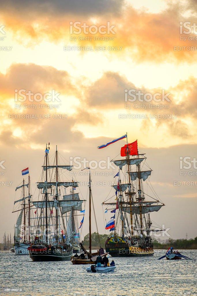 Historic sailing ships stock photo