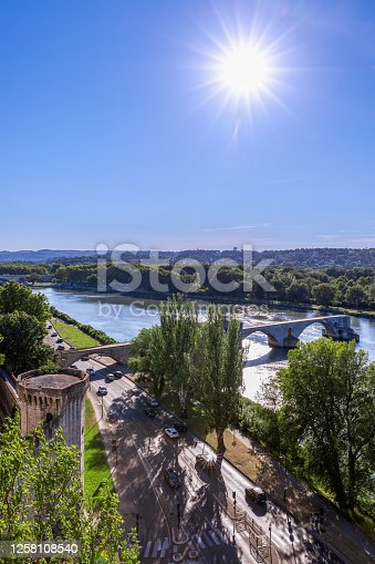 Historic Saint Benezet bridge on the Rhone river in Avignon city