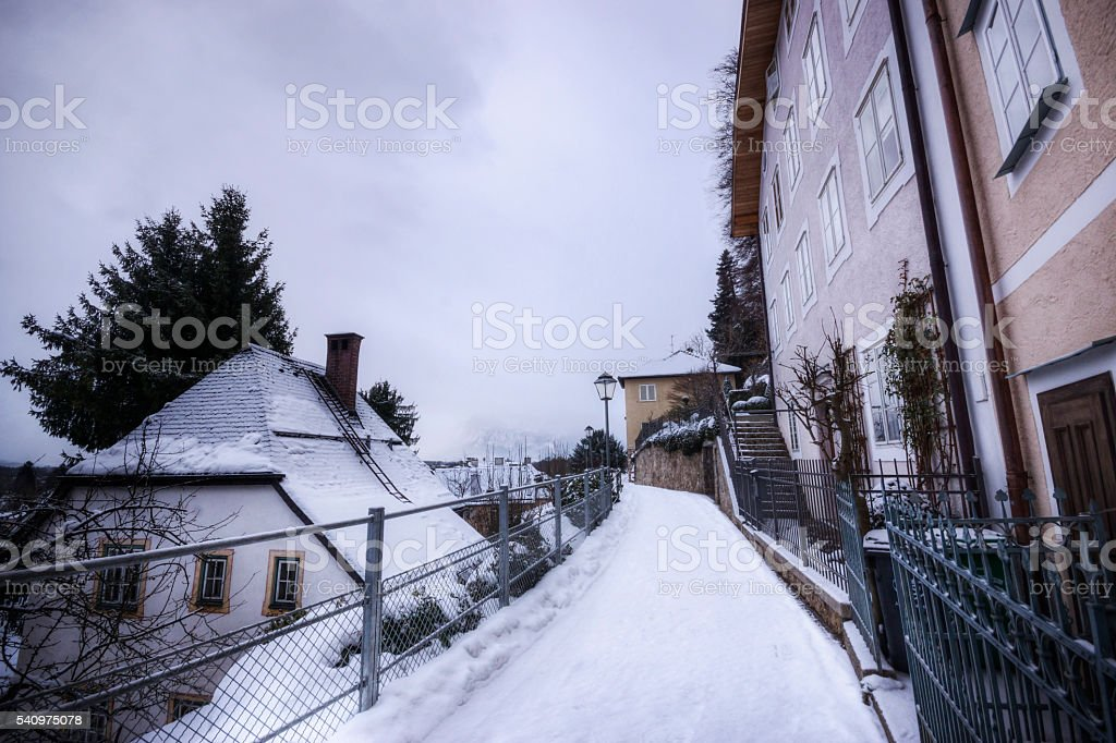 Historic Salzburg in Winter stock photo
