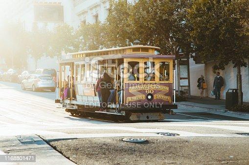 SAN FRANCISCO, USA - September 5, 2016: Historic Cable Cars riding on famous California Street in beautiful golden evening light at sunset, San Francisco, California, USA