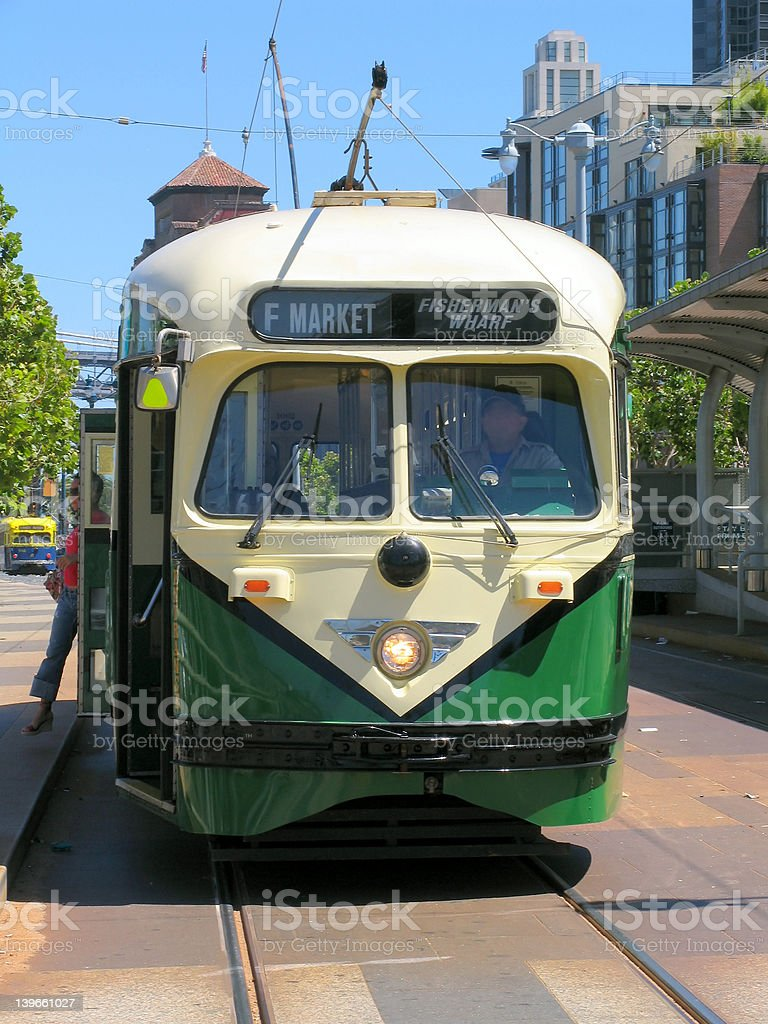 Historic San Francisco Street Car (Green) Front View royalty-free stock photo