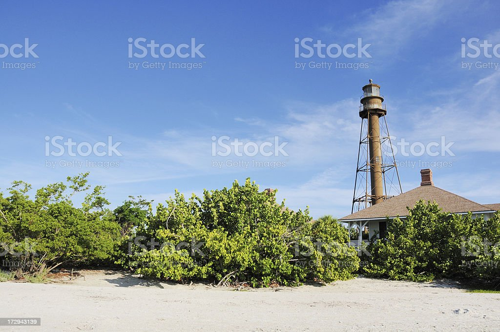 Historic Sanibel Island Florida Lighthouse and Beach stock photo