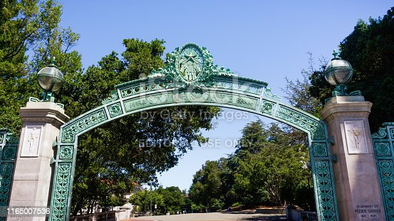 Historic Sather Gate at University of California at Berkeley is a prominent landmark leading to Sproul Plaza