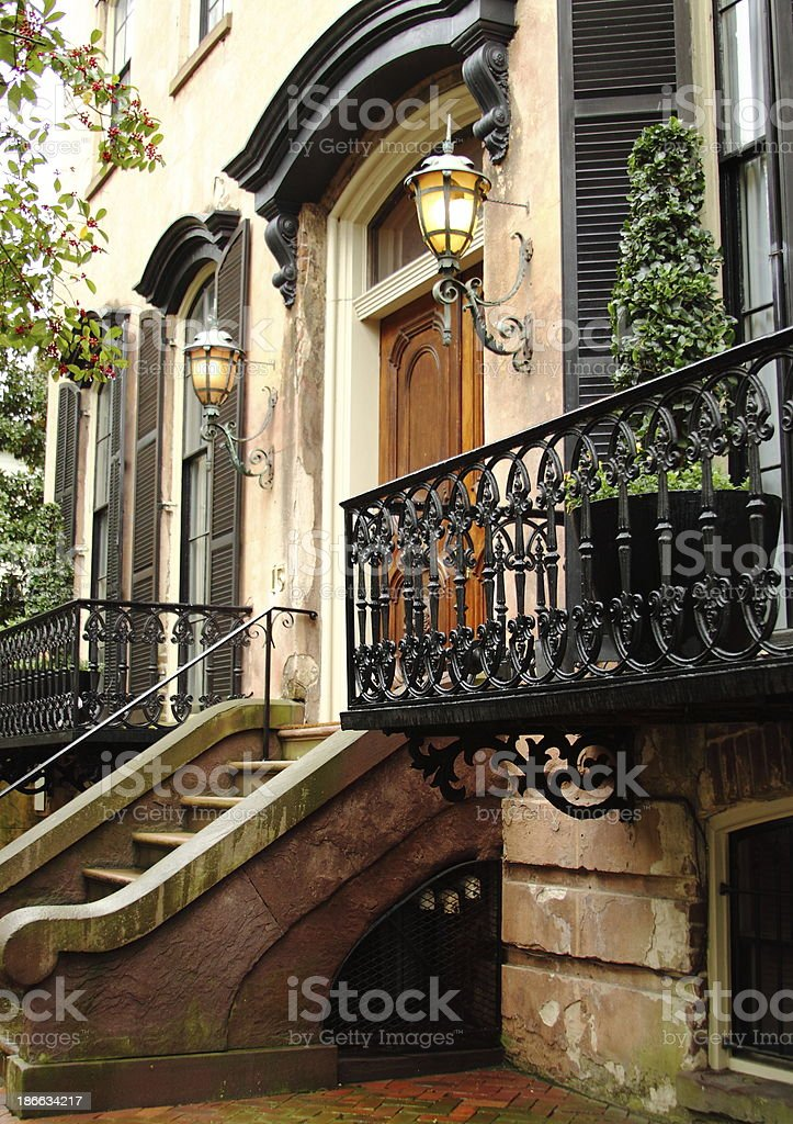 Historic Savannah Home with Staircase stock photo