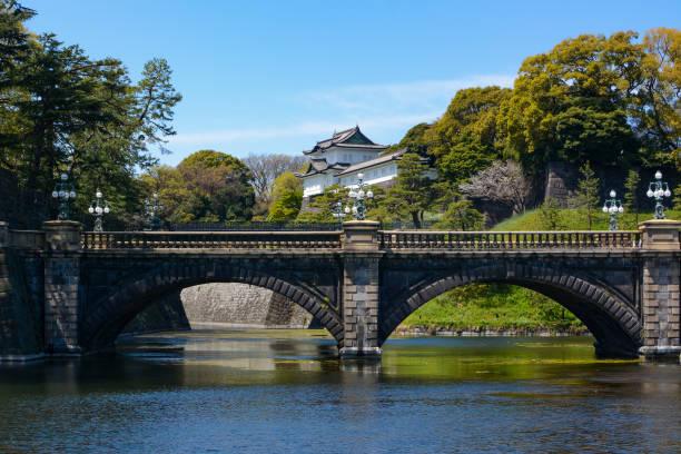 historic seimon ishibashi brücke und guard tower turm am kaiserpalast von tokio in japan - imperialismus stock-fotos und bilder