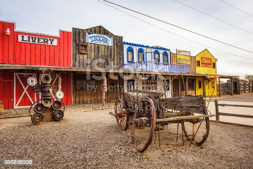 Seligman, Arizona, USA - January 2, 2018 : Facade of the historic Seligman depot situated on Route 66 and built in 1904.