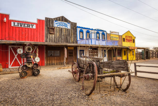 historic seligman depot situated on route 66 - western town stock photos and pictures