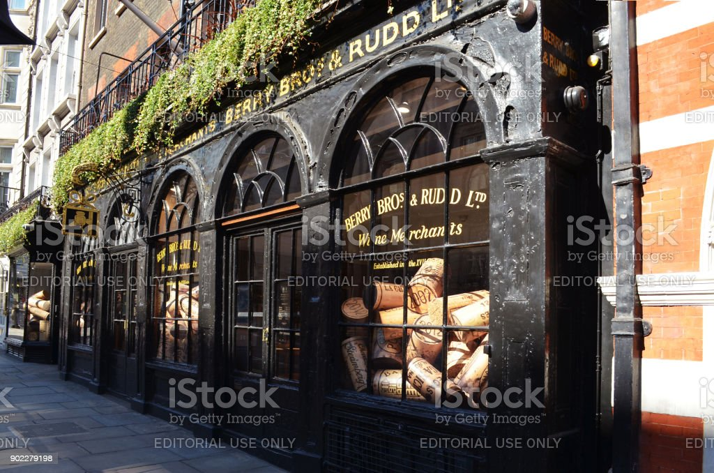 Historic shop of Berry Bros. & Rudd in London stock photo
