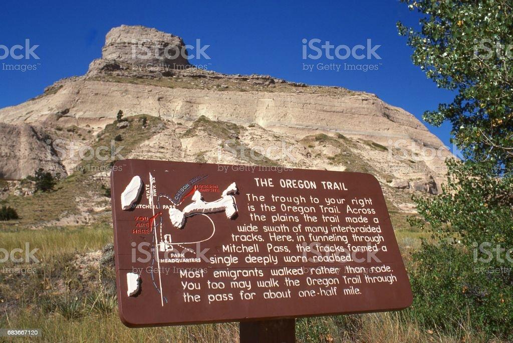 Historic sign near Scotts Bluff along the famous Oregon Trail Scottsbluff Nebraska stock photo