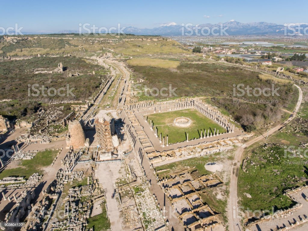 Historic Site of Perge in Turkey stock photo