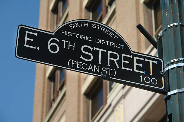 historic sixth street sign austin, texas - number 6 stock photos and pictures