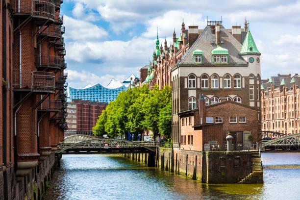 Historic Speicherstadt in Hamburg with Elbphilharmonie in the background, Germany stock photo
