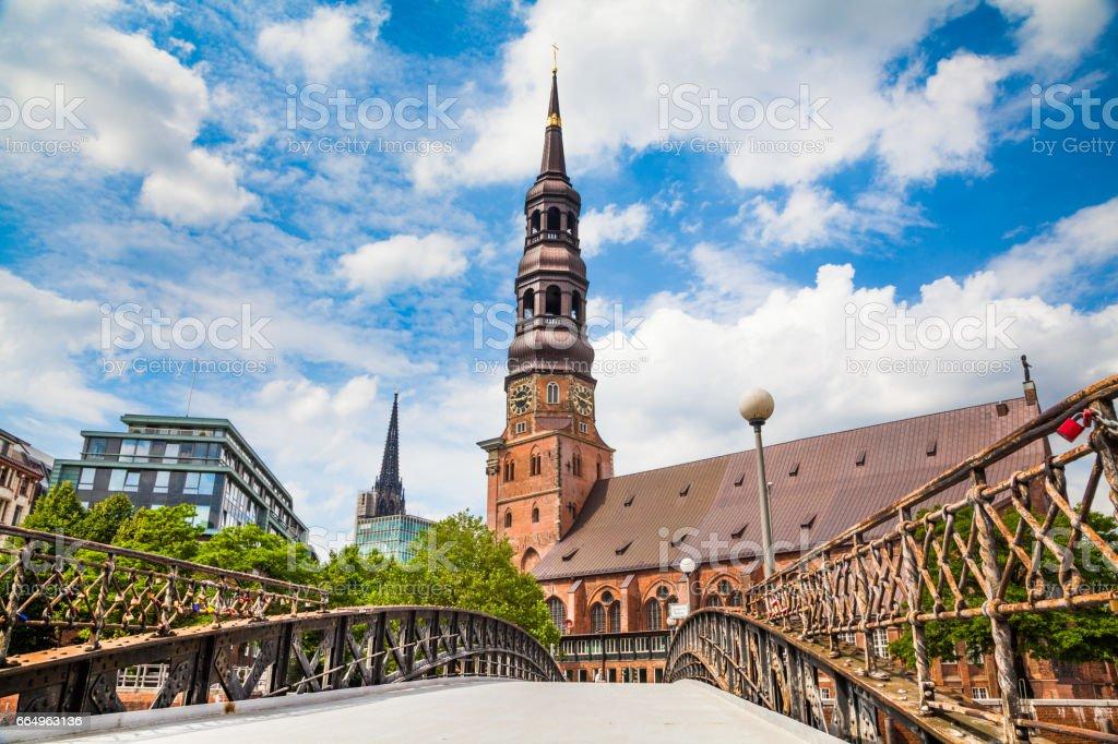 Historic St. Catherine's Church in Hamburg, Germany stock photo