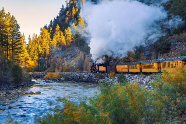 Historic steam engine train in Colorado, USA stock photo