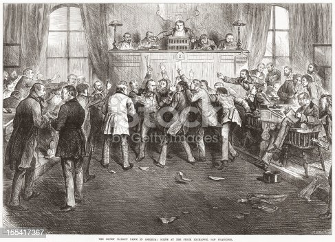 Entitled 'The Money Market Panic in America: Scene At The Stock Exchange, San Francisco'. Original engraving from 'The Illustrated London News' dated October 4 1873. The crash of 1873 triggered what is now known as the 'Long Depression'.