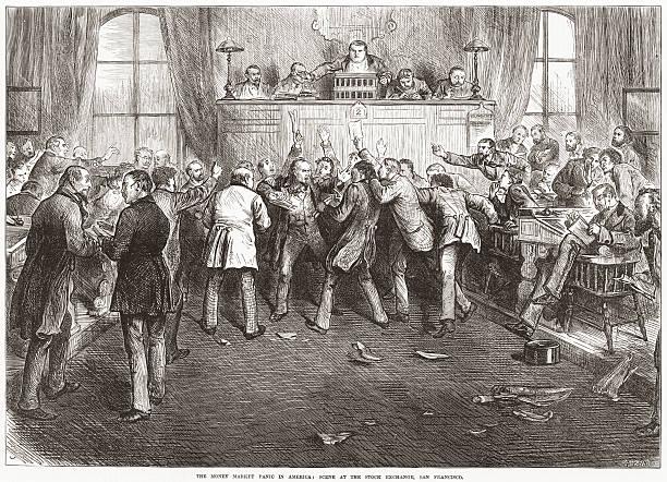 Historic Stock Market Crash 1873 USA - Traders Panic stock photo