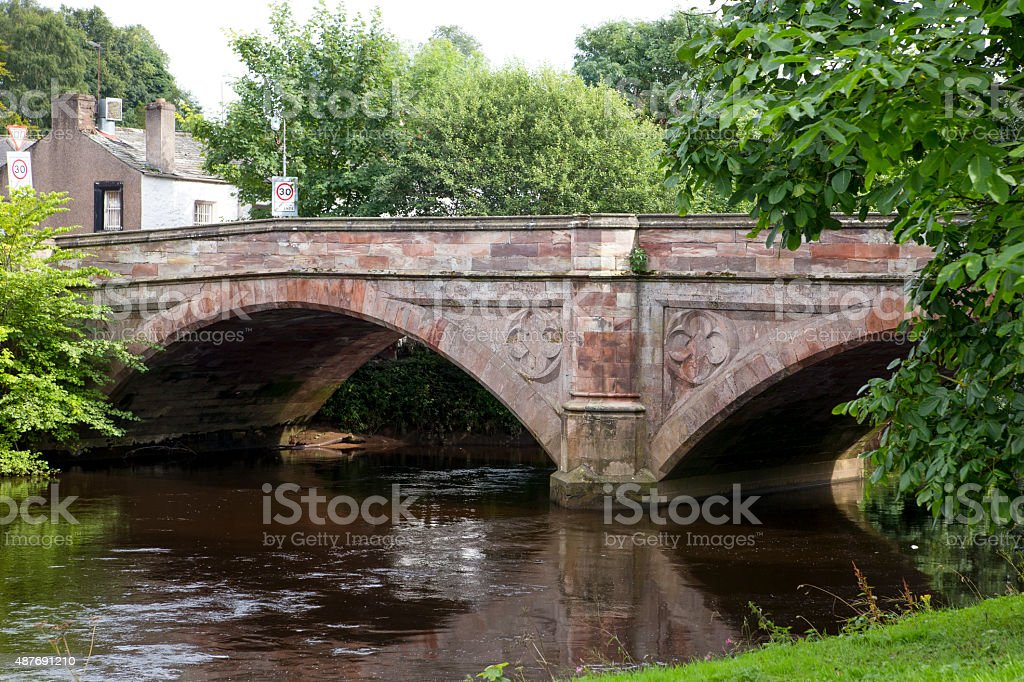 Historic stone bridge over the River Eden in Appleby, UK stock photo