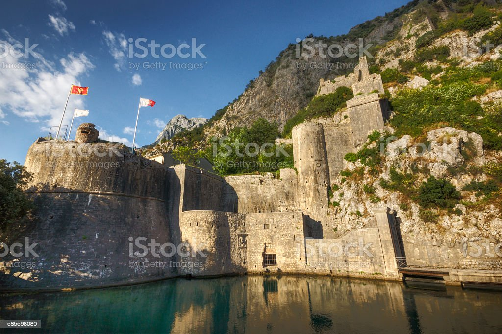 Historic Stone Walls in Kotor Montenegro stock photo