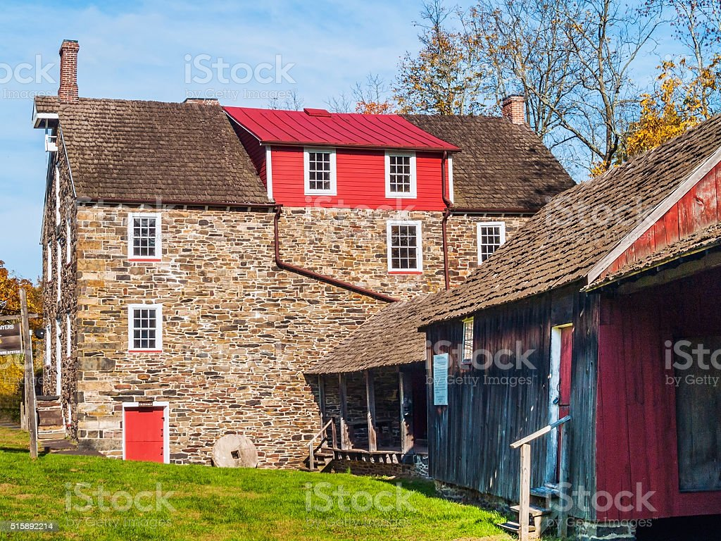 Historic Stover-Myers Mill stock photo