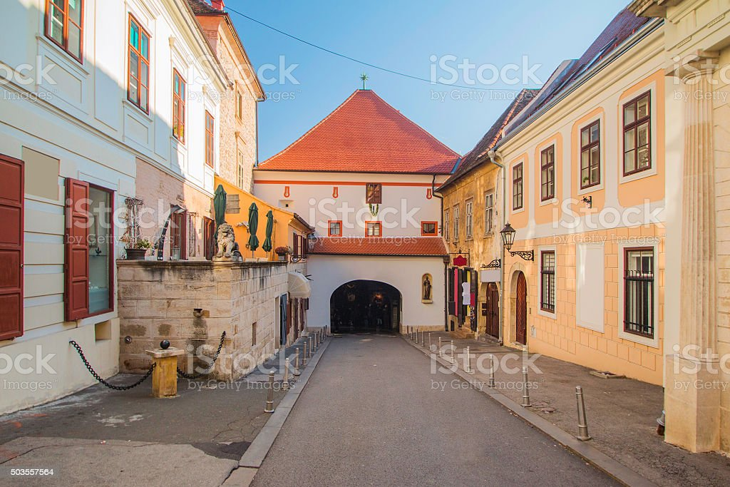 Historic street and Stone gate on Upper town in Zagreb stock photo