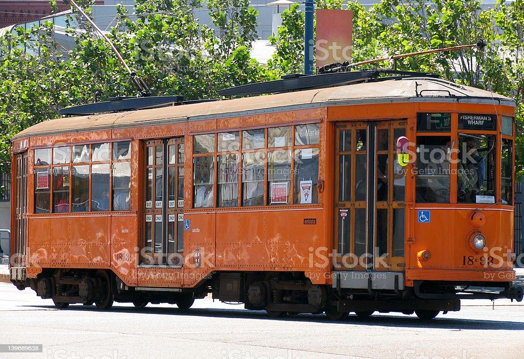 Historic Street Car (Orange) royalty-free stock photo
