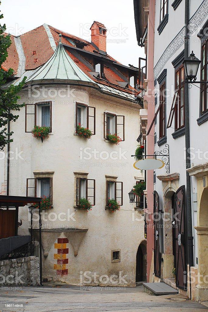 Historic Street in Skofja Loka royalty-free stock photo