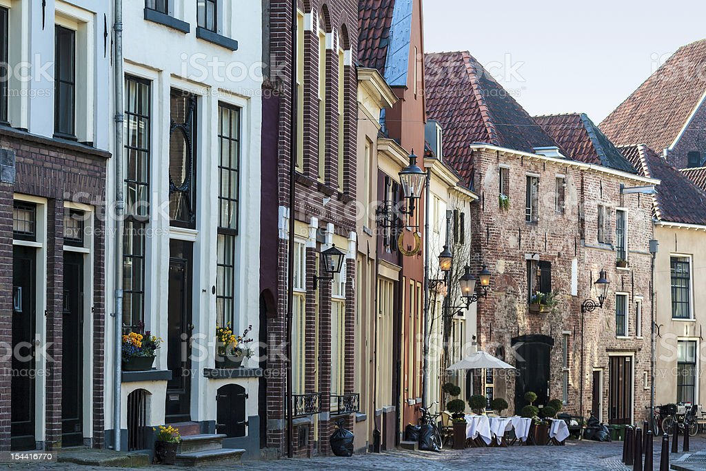 Historic street in the Dutch town Deventer stock photo