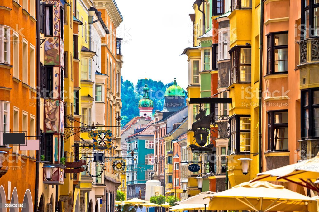Historic street of Innsbruck view, alpine city in Tirol, region of Austria stock photo