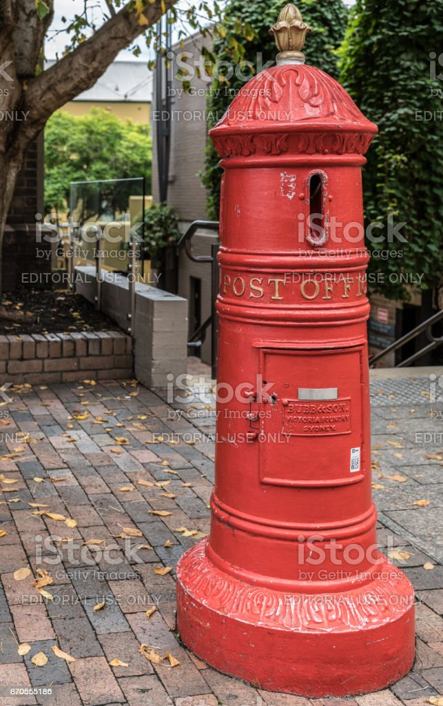 Historic street post office mail box, Sydney Australia. stock photo