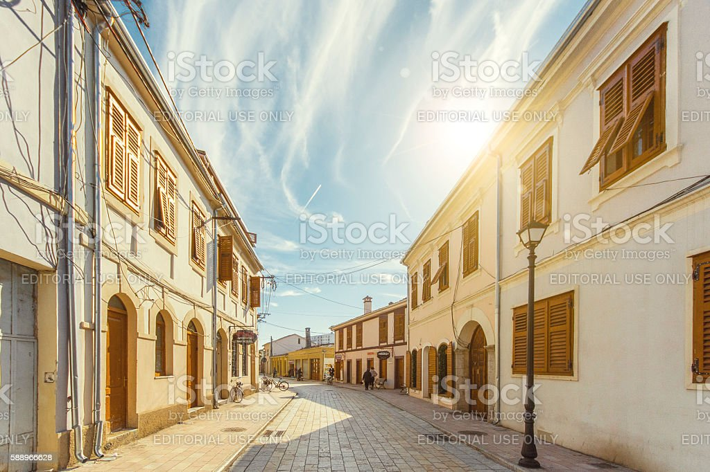 Historic street with old houses in Shkoder Albania stock photo