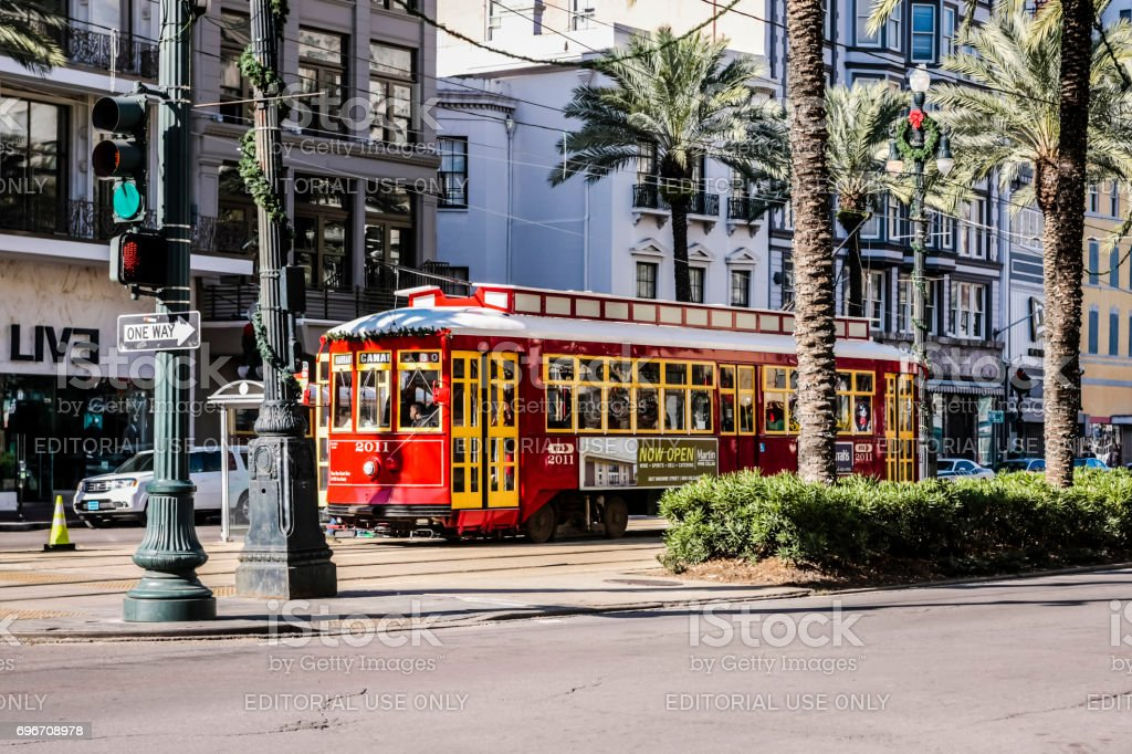 Historic streetcar on the Canal Street transit route in New Orleans Louisiana, USA stock photo