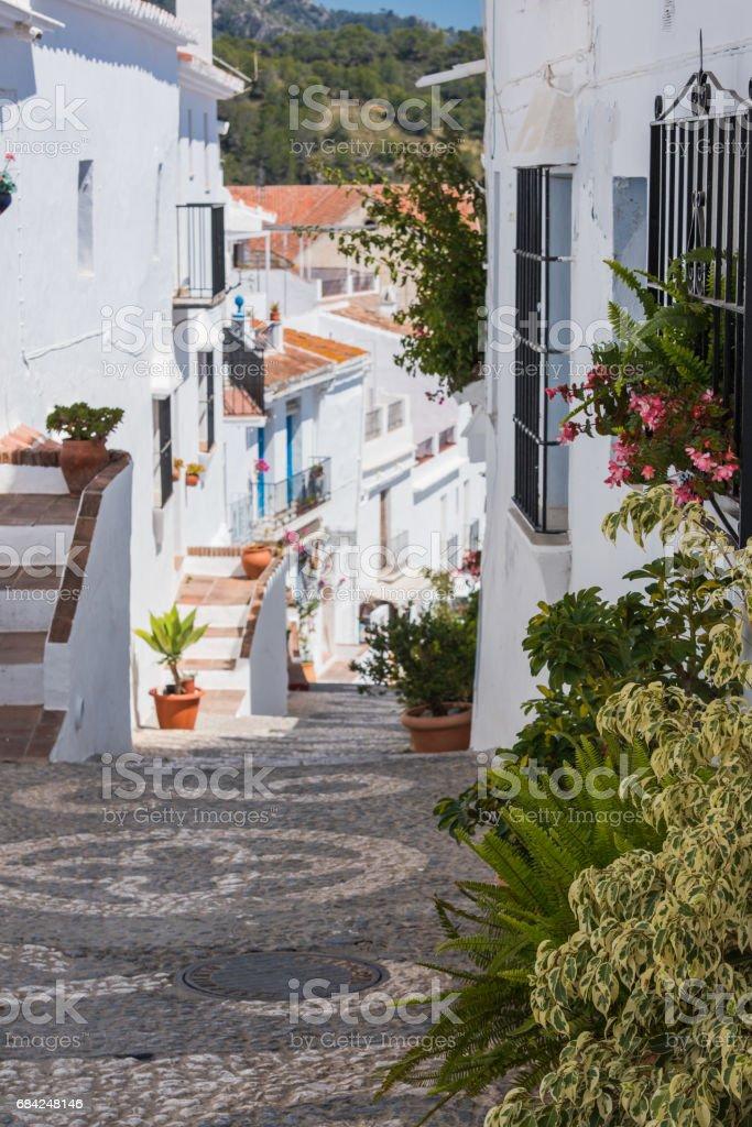 Historic streets of famous Frigiliana,Malaga province,Spain. 免版稅 stock photo
