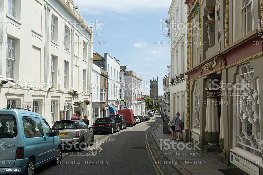 Historic streets of Penzance town Centre, Cornwall stock photo