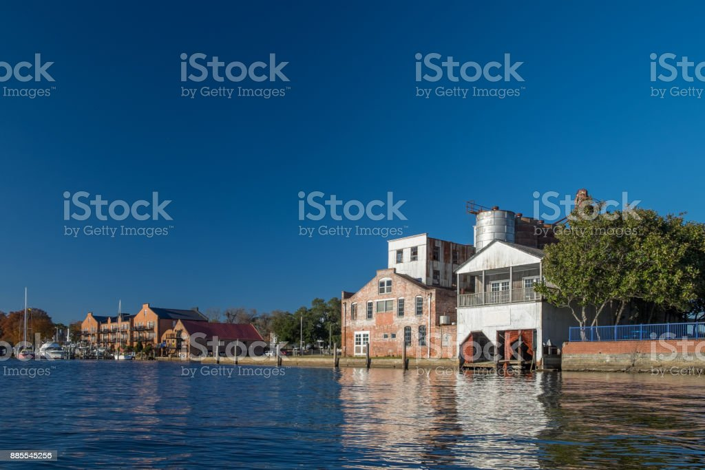 Historic Structures along the Riverfront stock photo