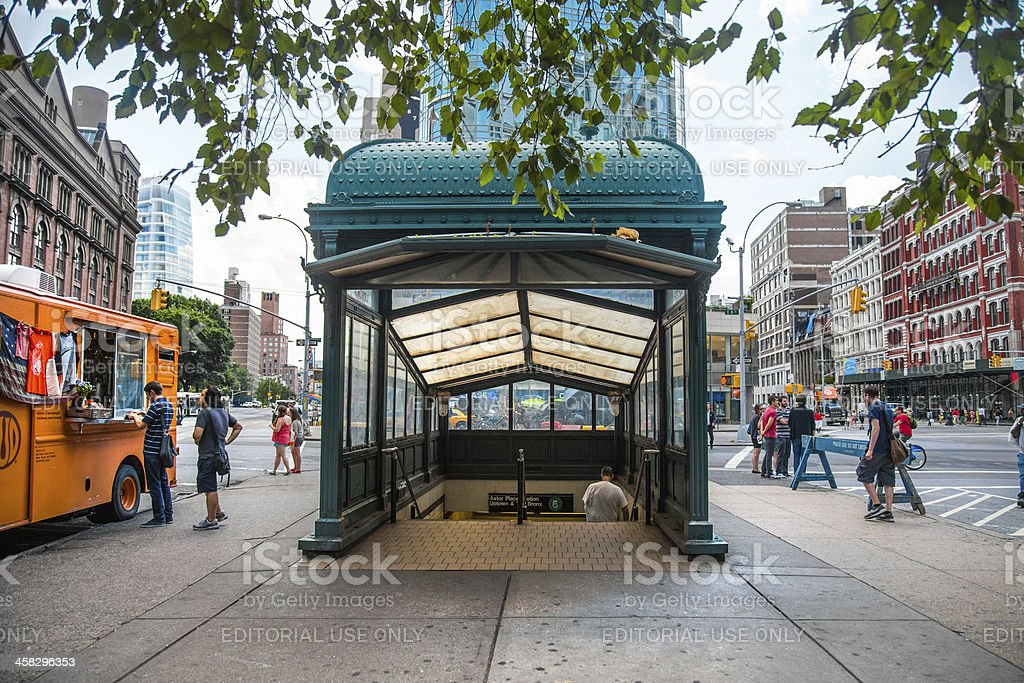 Historic Subway Station Entrance NYC stock photo