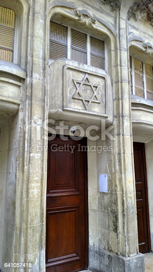 Entrance to the historic old Agoudas Hakehilos Synagogue in the Marais District Paris France
