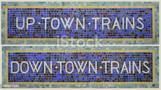 Classic New York City Subway Signs Uptown Trains and Downtown Trains