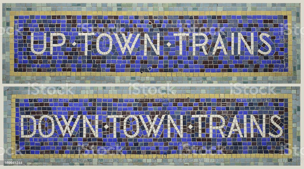 Historic Tile Mosaic New York City Subway Signs Uptown/Downtown Trains stock photo