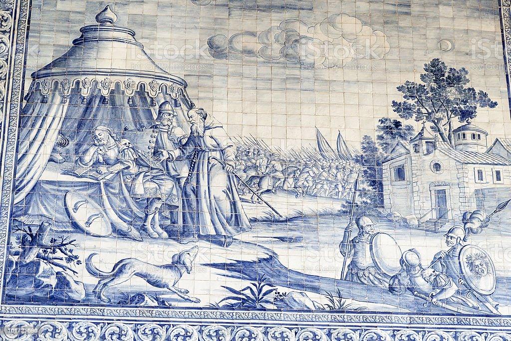 Historic tiles in the Royal Basilica, Castro Verde, Alentejo, Portugal stok fotoğrafı