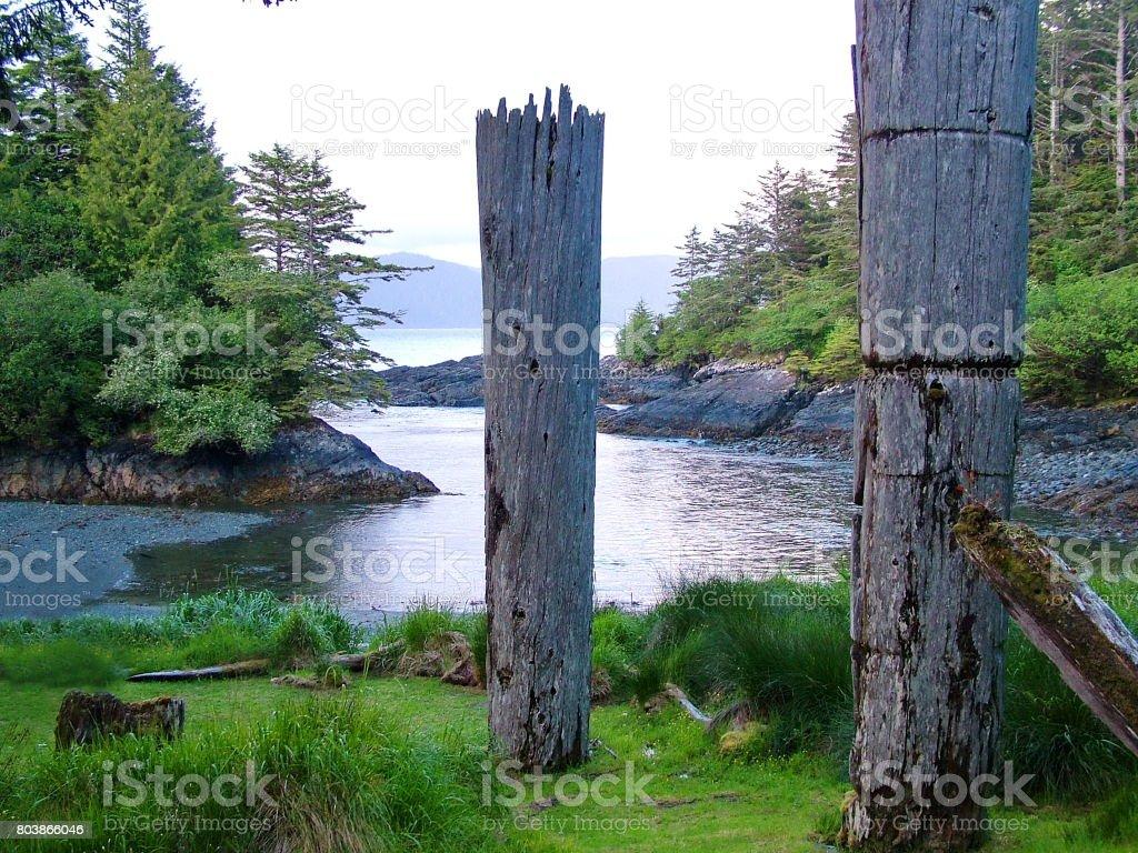 Historic Totem Poles stock photo